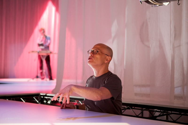 David Lang in rehearsal of the whisper opera