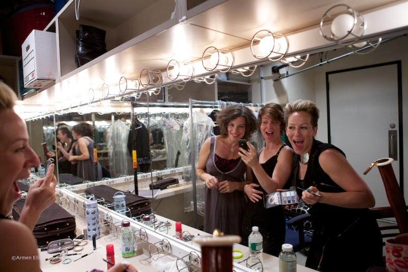 Carla Kihlstedt, Claire Chase, Rebekah Heller, backstage at Lincoln Center Mostly Mozart Festival 2013