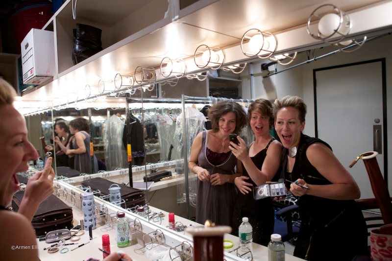 Carla Kihlstedt, Claire Chase, Rebekah Heller, backstage at Lincoln Center Mostly Mozart Festival 2013