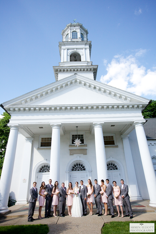 Bridal Party in front of Emmaus Moravian Church after wedding by Armen Elliott