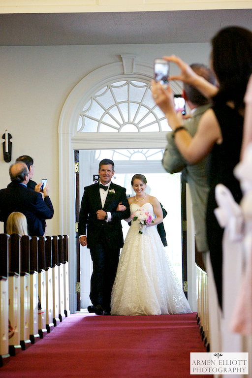 Emmaus Moravian Church wedding-bride with father-photo by Armen Elliott