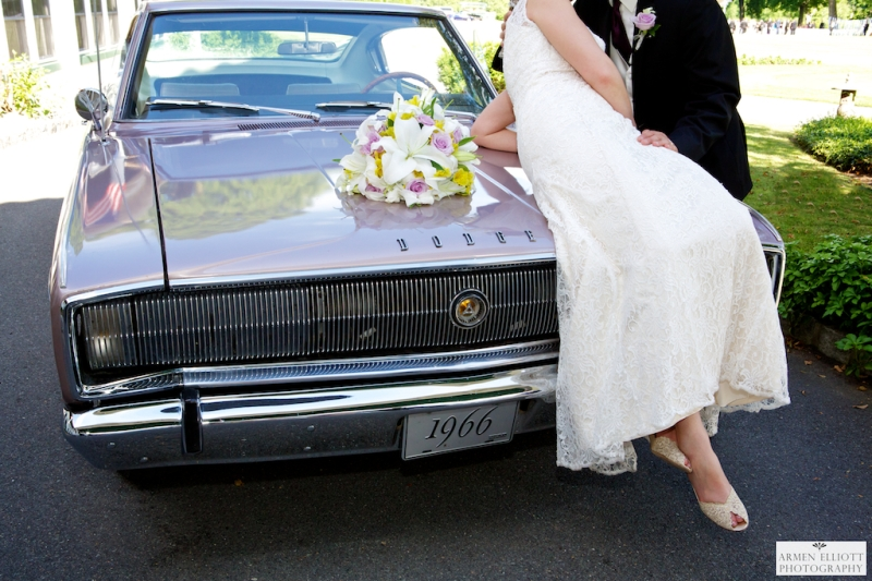Classic car wedding photo at Shawnee Inn by Armen Elliott Photograph