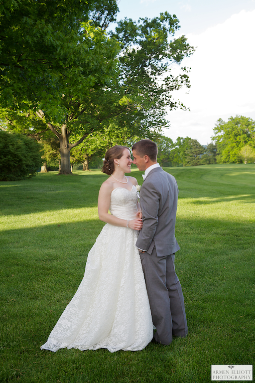 Wedding photo of couple at Lehigh Country Club by Armen Elliott Photography