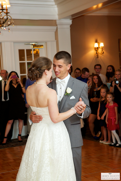 Wedding photo of couples first dance at Lehigh Country Club by Armen Elliott Photography