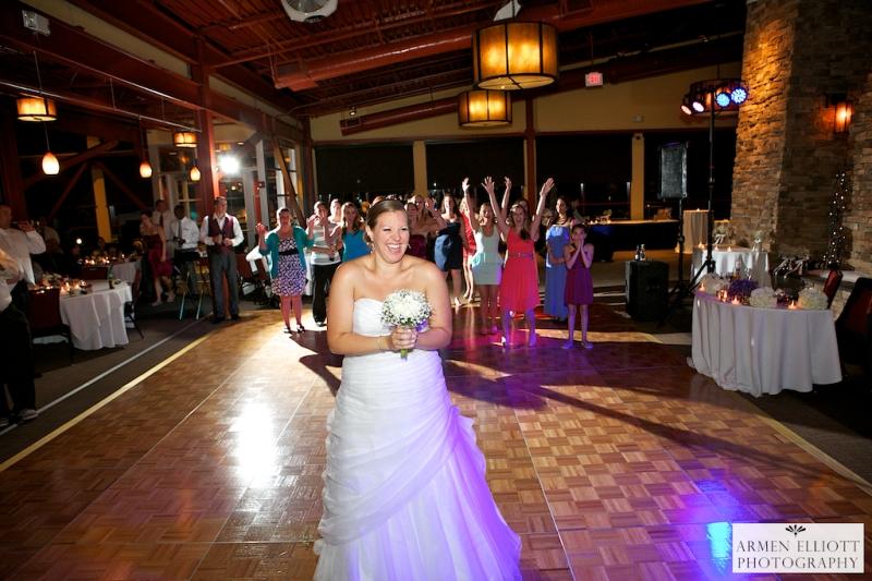 Wedding photo at Bear Creek Resort- Bouquet toss-Armen Elliott Photography