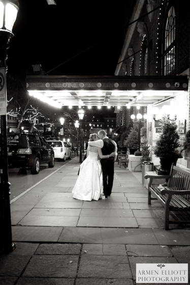 Hotel Bethlehem wedding couple on Main Street photo by Armen Elliott