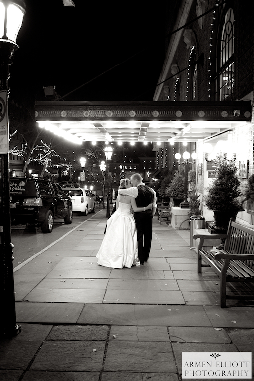 Hotel Bethlehem wedding couple on Main Street photo by Armen Elliott
