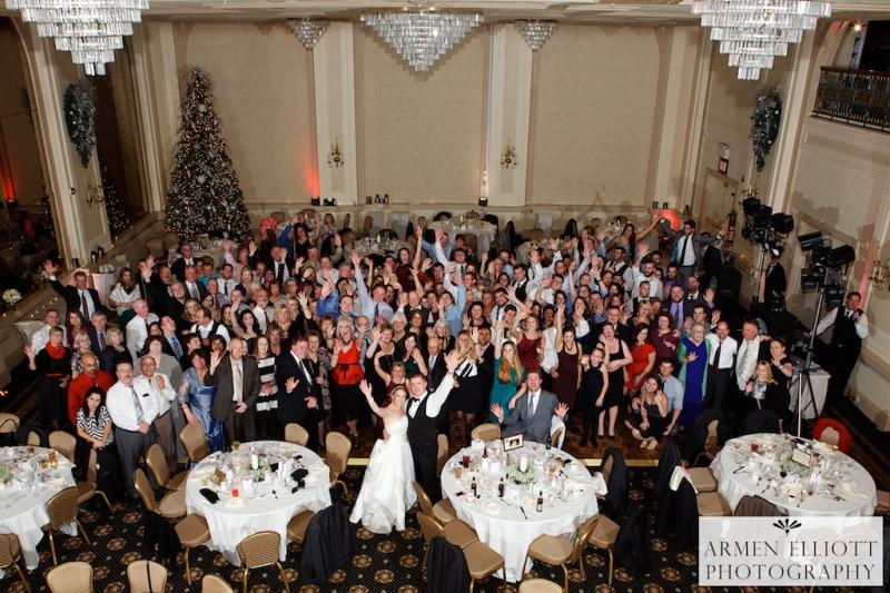 Hotel Bethlehem wedding photo of all the wedding guests by Armen Elliott