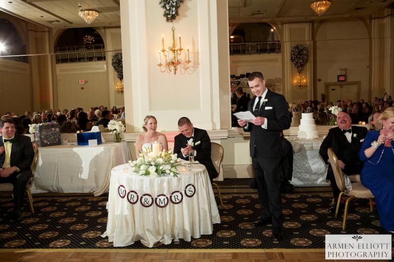 Hotel Bethlehem wedding photo of best man's toast by Armen Elliott Photography