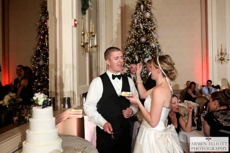 Hotel Bethlehem wedding photo of cake feeding by Armen Elliott