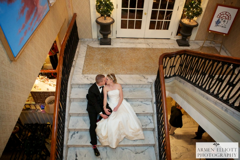 Hotel Bethlehem wedding photo on the stairs after the wedding by Armen Elliott