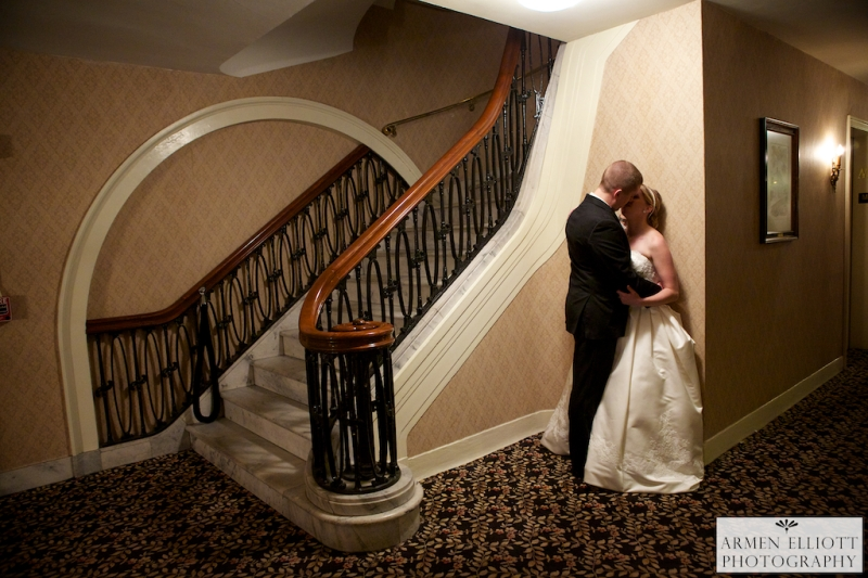 Romantic photo in Hotel Bethlehem of wedding couple by Armen Elliott