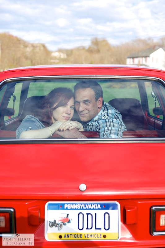 Engagement photo session with vintage red classic chevette in Stroudsburg, PA