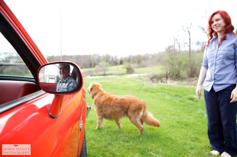 Engagement photo session with classic chevette in the Pocono Mountains, PA